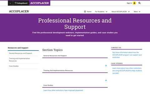 Screenshot of Support Page collegeboard.org - Resources and Support – ACCUPLACER – The College Board - captured Sept. 4, 2017