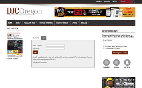 Screenshot of Login Page djcoregon.com - Daily Journal of Commerce – Building and Construction News in Portland, Oregon and the Pacific Northwest - captured Nov. 23, 2016