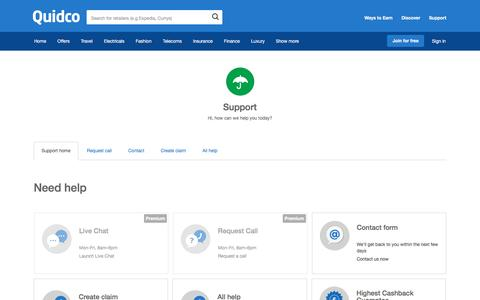 Screenshot of Support Page quidco.com - Help | Quidco - captured March 24, 2017