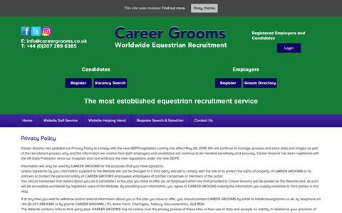 Screenshot of Privacy Page careergrooms.co.uk - Privacy Policy - Career Grooms - captured Nov. 10, 2018