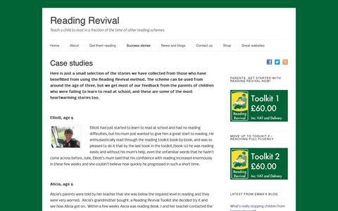 Screenshot of Case Studies Page readingrevival.com - Case studies - Reading Revival - captured Oct. 18, 2018