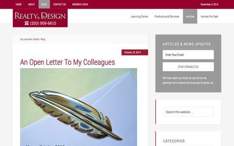 Screenshot of Blog squeezemoreprofit.com - Blog - Real Estate Broker | Realty By Design | Fairfield, CT - captured Nov. 4, 2014
