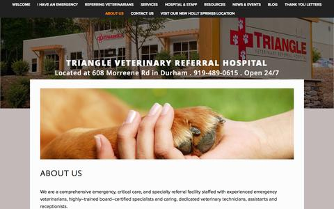 Screenshot of About Page trianglevrh.com - About Us — Triangle Veterinary Referral Hospital - captured Nov. 5, 2014