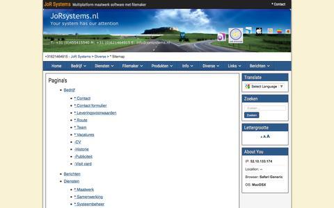 Screenshot of Site Map Page jorsystems.nl - * Sitemap   JoR Systems - captured June 8, 2017