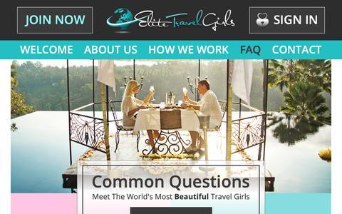 Screenshot of FAQ Page elitetravelgirls.com - Elite Travel Girls - Meet The World's Most Beautiful Travel Girls - captured Nov. 25, 2018