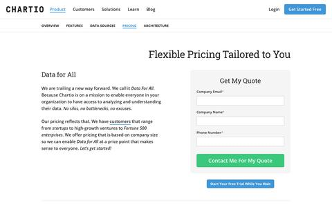 Screenshot of Pricing Page chartio.com - Chartio Pricing - captured Feb. 22, 2018