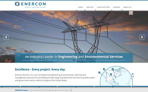 Screenshot of Home Page Site Map Page enercon.com - Excellence - Every Project, Every Day | ENERCON Home | ENERCON Services, Inc. - captured Oct. 24, 2018