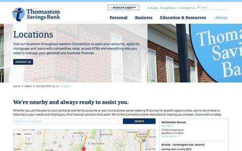 Screenshot of Locations Page thomastonsavingsbank.com - Branch Locations | Banks in CT | Thomaston Savings Bank - captured Jan. 12, 2016