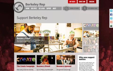 Screenshot of Support Page berkeleyrep.org - Support Berkeley Rep - captured Oct. 5, 2014