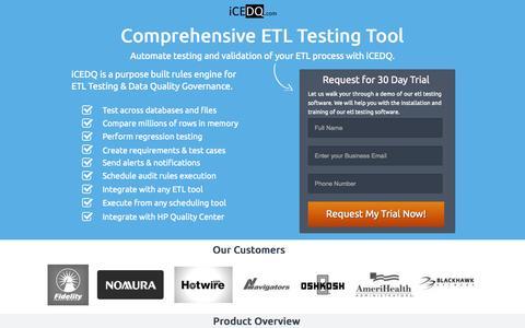 Screenshot of Landing Page icedq.com - ETL Testing Tool - captured Oct. 27, 2014