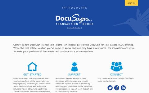 Screenshot of Home Page cartavi.com - Introducing DocuSign Transaction Rooms (Formerly Cartavi) - captured July 11, 2014