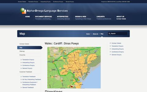 Screenshot of Maps & Directions Page a-o.co.uk - Map « Alpha-Omega Language Services - captured Oct. 4, 2014