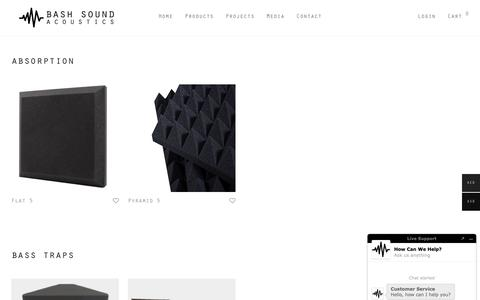 Screenshot of Products Page bashsoundinc.com - Acoustic Panel Soundproofing - Acoustic Products | Bash Sound Acoustics - captured Nov. 6, 2018