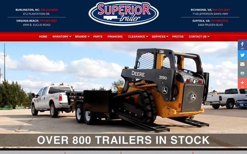 Screenshot of Home Page superior-trailer.com - Home | Superior Trailers | NC and VA Flatbed and Cargo Trailers For Sale |  Dump Trailers For Sale in NC and VA - captured Nov. 7, 2018