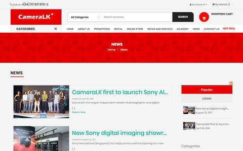 Screenshot of Press Page cameralk.com - News - captured July 15, 2018