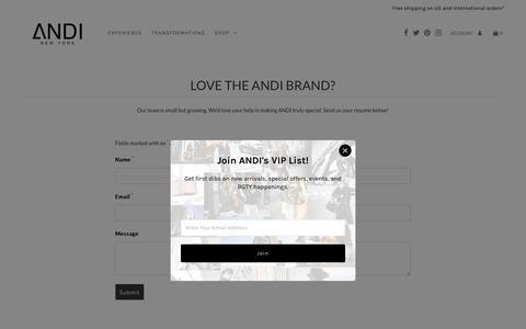 Screenshot of Jobs Page theandibrand.com - Careers – ANDI - captured Oct. 24, 2018
