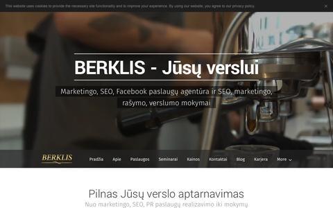 Screenshot of Home Page berklis.lt - SEO paslaugos, marketingo paslaugos, SEO mokymai - captured May 1, 2017