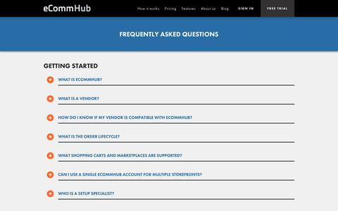 Screenshot of FAQ Page ecommhub.com - FAQs | eCommHub - captured Sept. 16, 2014