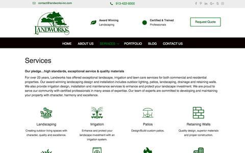 Screenshot of Services Page landworks-inc.com - Services - Landworks-Inc, LLC - Kansas City, Overland Park - captured July 16, 2018