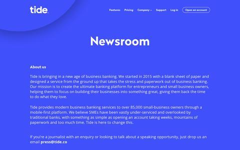 Screenshot of Press Page tide.co - Newsroom | Tide Banking - captured June 21, 2019
