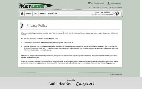 Screenshot of Privacy Page ikeyless.com - Privacy | iKeyless - captured Sept. 23, 2014