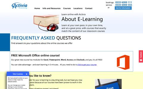 Screenshot of FAQ Page activia.co.uk - FAQ | Frequently Asked Questions About E-Learning Courses From Activia Training - captured July 10, 2019