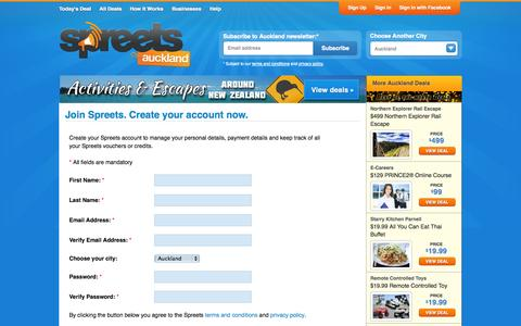 Screenshot of Signup Page spreets.co.nz - My Account Login - Spreets - captured Nov. 4, 2014