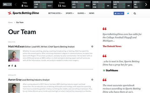Screenshot of Team Page sportsbettingdime.com - The Sports Betting Dime Writing Team - captured Nov. 8, 2018