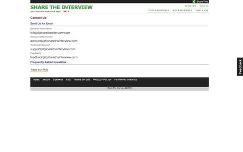 Screenshot of Contact Page sharetheinterview.com - Share The Interview - Contact Us - captured Oct. 4, 2014