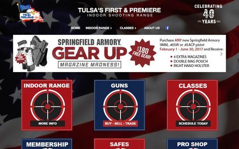 Screenshot of Home Page tulsafirearms.com - Tulsa Firearms - Indoor Shooting Range - captured April 23, 2017