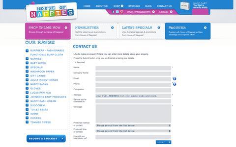 Screenshot of Contact Page houseofnappies.com.au - Contact Us | Buy Nappies Online - captured Sept. 30, 2014
