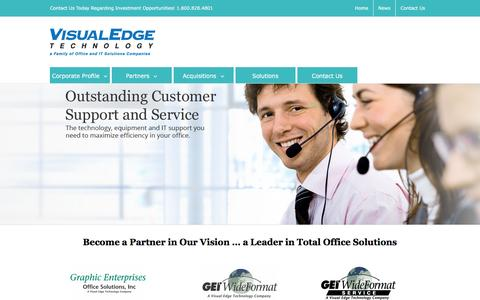 Screenshot of Home Page visualedgetechnology.com - Visual Edge Technology - a Leader in Total Office Solutions - captured Feb. 21, 2016