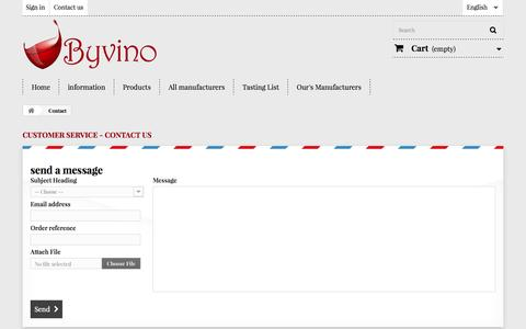 Screenshot of Contact Page byvino.it - Contact us - Byvino - captured Nov. 3, 2014