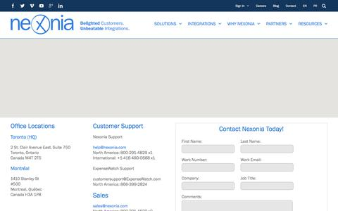 Screenshot of Contact Page nexonia.com - Contact Nexonia | Expense Reports & Timesheet Software - captured Sept. 25, 2017