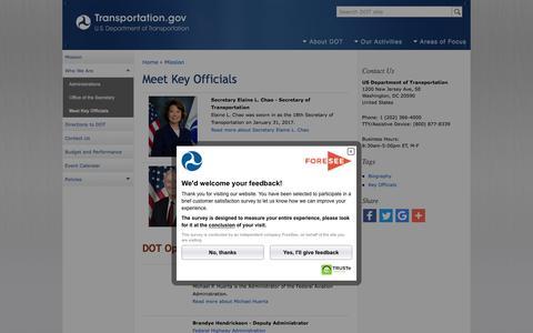 Screenshot of Team Page transportation.gov - Meet Key Officials | US Department of Transportation - captured Sept. 29, 2017