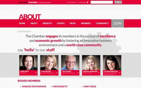 Screenshot of About Page columbusareachamber.com - Columbus Area Chamber of Commerce - Columbus, Indiana - captured June 23, 2016
