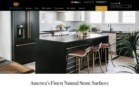 Screenshot of Home Page cambriausa.com - Home - Cambria®  Natural Stone Surfaces - captured May 4, 2019