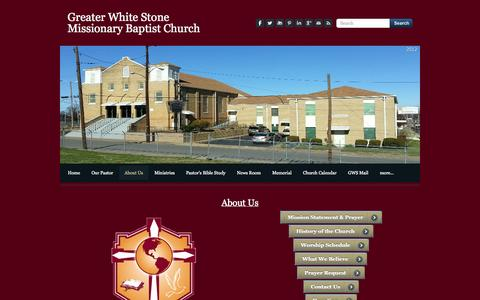 Screenshot of About Page gwsmbc.org - About Us - Greater White Stone Missionary Baptist Church - captured Oct. 3, 2014
