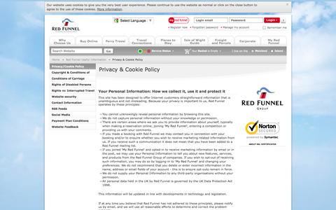 Screenshot of Privacy Page redfunnel.co.uk - Privacy & Cookie Policy | Red Funnel Isle of Wight Ferries - captured Oct. 30, 2014
