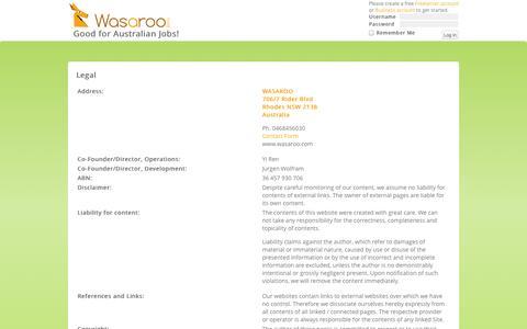 Screenshot of Terms Page wasaroo.com - Legal | WasarooWasaroo - captured Oct. 8, 2014