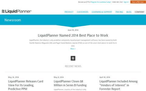 Screenshot of Press Page liquidplanner.com - LiquidPlanner | Newsroom - captured July 20, 2014