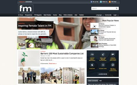Screenshot of Home Page fmindustry.com - FM Industry   The Facilities Management Hub - captured Feb. 23, 2020