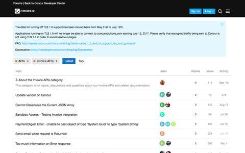 Latest Invoice APIs topics - Concur Developer Forum