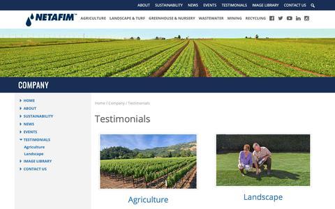 Screenshot of Testimonials Page netafimusa.com - Testimonials - Netafim USA - captured Oct. 19, 2018
