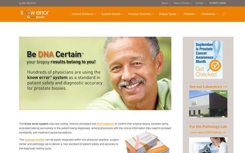 Screenshot of Home Page knowerror.com - Know Error - Be DNA Certain - captured Sept. 12, 2015