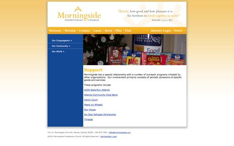 Screenshot of Support Page morningsidepc.org - Morningside Presbyterian Church - Atlanta, GA: Support - captured Oct. 26, 2014