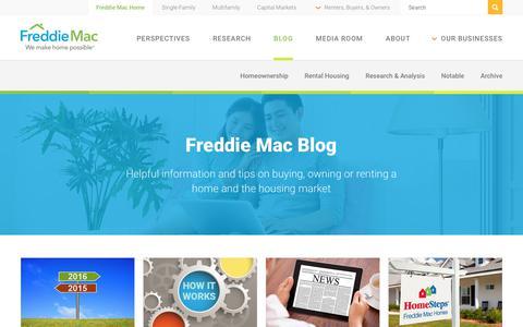 Screenshot of Blog freddiemac.com - Freddie Mac Blog - captured April 13, 2018