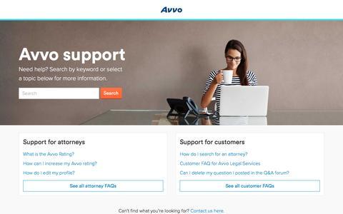 Screenshot of Support Page avvo.com - Avvo support center - captured Jan. 23, 2017