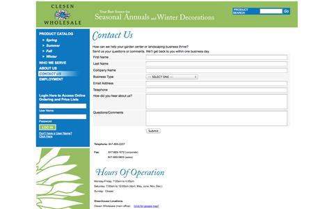 Screenshot of Contact Page Maps & Directions Page clesen.com - Clesen Wholesale - Contact Us - captured Oct. 2, 2014