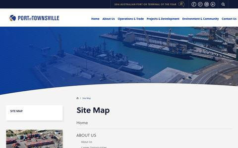 Screenshot of Site Map Page townsville-port.com.au - Site Map  | Port of Townsville - captured Aug. 7, 2017